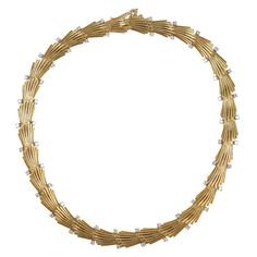 18kt Yellow Gold & Diamond Necklace | From a unique collection of vintage choker necklaces at https://www.1stdibs.com/jewelry/necklaces/choker-necklaces/