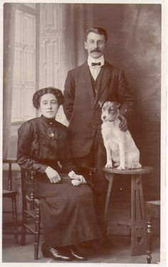 Vintage Photo - Edwardian couple with their Jack Russell Terrier Dog.
