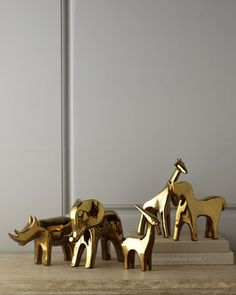 Golden Animal Sculptures at Horchow.