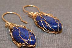 Lapis Lazuli Earrings, 14 Kt Gold Filled Wire Wrapped, OOAK, Marquis Briolette Earrings, Handmade Jewelry, AAA Gemstone, September Birthday