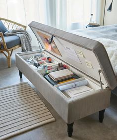 Home Office Storage, Home Organization, Cozy Home Office, Home Room Design, Home Interior Design, Interior Office, Room Ideas Bedroom, Ikea Bedroom, Bench For Bedroom
