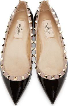 Valentino Black & Clay Pink Patent Rockstud Ballerina Flats