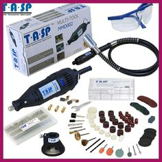 TASP 220V 130W Rotary Tool Set Electric Mini Drill Engraver with Flexible Shaft and 140 Accessories Power Tools