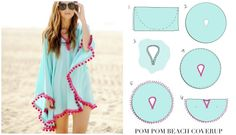 Fab Art DIY Easy Pom Pom Trim Beach Coverup | www.FabArtDIY.com