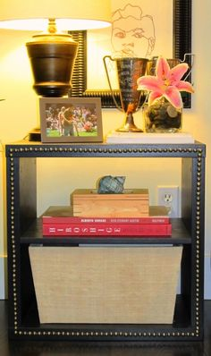 simple idea for a skinny shelf in the hallway. Shoes on bottom, purses in the middle, and the top for mail/keys/etc.