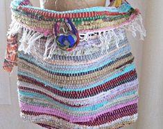 Rag rug bag boho crossbody bag upcycled repurposed recycled | Etsy Boho Crossbody Bag, Leather Pearl Necklace, Handmade Gift Tags, Boho Accessories, Fabric Ribbon, Summer Bags, Large Bags, Upcycle, Purses
