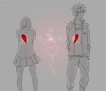 anime, anime girl, black & white, manga girl, couple, heart, manga, monochrome, pain, anime couple, manga couple