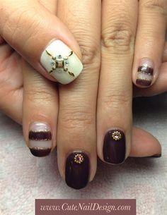 brown summer nails by CuteNailDesigns - Nail Art Gallery nailartgallery.nailsmag.com by Nails Magazine www.nailsmag.com #nailart