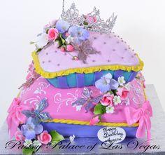 Pastry Palace Las Vegas - Pillows for a Princess, Pink, Purple Tufted Pillow Cake - Kids Cake #629