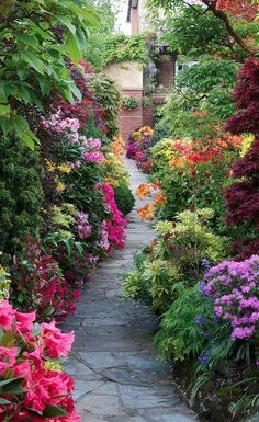 A profusion of blooming flora invite visitors down this garden path.