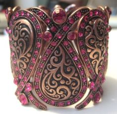 Wide Antiqued Copper & Fuchsia Crystal Stretch Bracelet