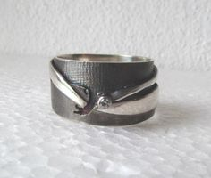 Unique hammered sterling ring zircon ring US size by JorArtJewelry