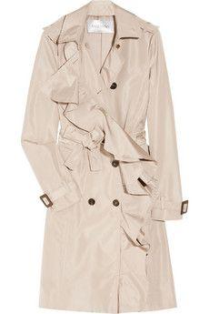 Valentino Ruffled satin-twill trench coat. More Duchess Effect style.