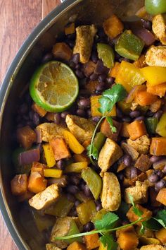 This Chili Lime Sweet Potato and Chicken Skillet recipe is a healthy one pan dinner recipe with delicious Southwestern flavor.