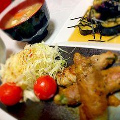 野菜の肉巻チーズ ナスのおひたし 豚汁 - 2件のもぐもぐ - 野菜のチーズ肉巻 by mai71mai