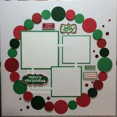 Premade 12x12 Merry Christmas scrapbook page, Red, white and green cardstock with stickers and red sequins. #scrapbooklayouts