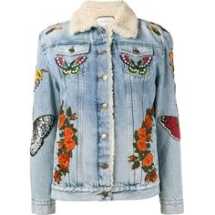 Gucci embroidered denim jacket (15.750 BRL) ❤ liked on Polyvore featuring outerwear, jackets, coats, coats & jackets, denim jackets, blue, embroidered denim jacket, blue fur jacket, long sleeve jean jacket and blue denim jacket