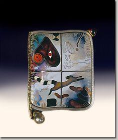 Colette Denton | Ideogram Series Flight    Cloisonne Enamel/silver/gold/pearl/garnet 1967