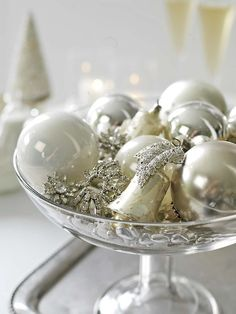 Xmas ornaments in a compote. Simple centerpiece.