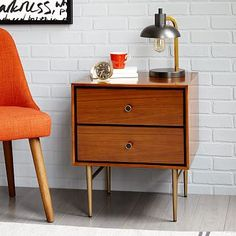 """Heston Mid-Century Nightstand - Walnut #westelm, walnut finished veneer with black contrast reveal, metal base in antiqued brass finish, 20""""w x 18""""d x 24""""h, $349"""