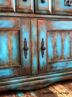 Weathered Furniture, Funky Painted Furniture, Chalk Paint Furniture, Refurbished Furniture, Repurposed Furniture, Furniture Makeover, Vintage Furniture, Blue Distressed Furniture, Turquoise Furniture