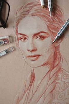Portrait of Lena Headey as Cersei Lannister from the Game of Thrones series created before the new season premiere.
