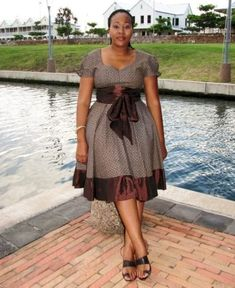 kitenge designs shweshwe attire for African women - fashion South African Dresses, African Wear Dresses, African Attire, Seshweshwe Dresses, Xhosa Attire, Elegant Dresses, Traditional Dresses Designs, African Traditional Dresses, Traditional Outfits