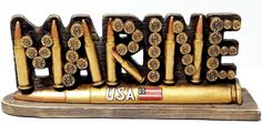 USA Marine 12 Gauge Bullets and Shell Figurine Plaque Collectors Home Decor Show Piece Salute the Braves * For more information, visit image link. (This is an affiliate link and I receive a commission for the sales)