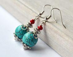 Turquoise magnesite gemstone silver earrings gift