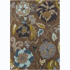 @Overstock - Update your home decor with this durable Mani wool rug. Hand-tufted in India using fine quality wool. Area rug features a bold floral pattern in shades of blue, grey, white, green, tan, taupe and gold against brown background.http://www.overstock.com/Home-Garden/Hand-tufted-Mani-Brown-Floral-Wool-Rug-7-x-10/6831123/product.html?CID=214117 $394.99