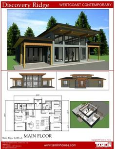 Contemporary Designs Tamlin Timber Frame Homes Lake House Plans Cottage Plan Modern House Plans