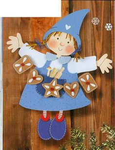 little girl with gingerbread - Christmas paper craft pattern