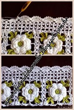 ergahandmade: Crochet Edging With Flowers + Free Pattern Step By Step + Diagram Crochet Needles, Thread Crochet, Crochet Trim, Love Crochet, Filet Crochet, Crochet Motif, Irish Crochet, Crochet Designs, Crochet Doilies