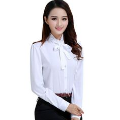 Elegant Embroidery White Office Bow blouse