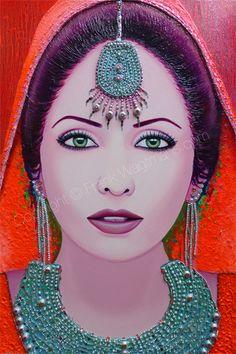Kleurrijk Modern Schilderij Vrouw