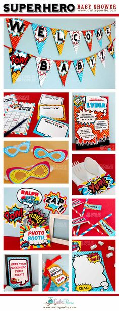 Superhero BABY Shower Party Printable Package & por OwliePowlie