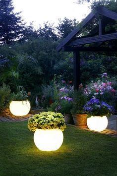 Paint glow in the dark pain on pots for around the garden lighting