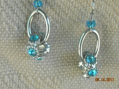 turquoise rhinestone  earrings by BeadingByJenn on Etsy, $10.50