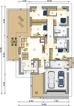 Rzut parteru - S-GL 1012 Winston VIII The cost reach of the Apartment was amazing. House Layout Plans, Dream House Plans, Modern House Plans, Small House Plans, House Layouts, House Floor Plans, Modern Bungalow House, Bungalow House Plans, Affordable House Plans