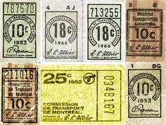 Montreal Transit Ticket Assorted Collection  by Striderv, via Flickr