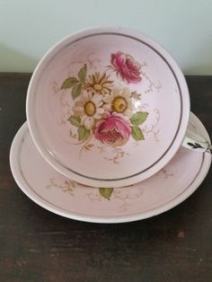 1940s Teacup / Saucer by Paragon China - Appointment to Her Majesty Queen Mary of England | Blush Pink Tea Cup w/ Roses, Daisies + Silver
