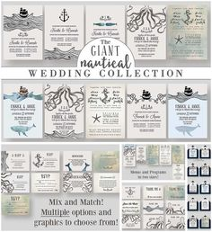 Giant Nautical Wedding Collection, Amazing Free Printable and Free Download, set of 10 wedding invitation templates, 5 RSVP templates, 4 information card templates, 4 save the date templates, 6 thank you templates, 2 wedding program templates and 2 menu templates in nautical style.