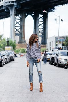 "justthedesign: ""Shalice Noel knows how to wear the nautical trend. She keeps her look on point with block heeled ankle boots, perfect for parading the New York streets. For fall match this look with a brown or beige shearling coat. Camel Ankle Boots, Fall Jeans, Ripped Jeans, Boating Outfit, Fall Outfits, Fashion Tips, Fashion Trends, Net Fashion, Street Fashion"