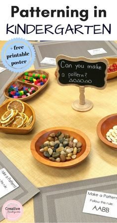 Patterning in Kindergarten. Math centers with loose parts to practice patterning skills with a variety of activities. Includes I Can poster freebie.