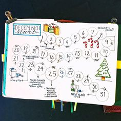Bullet journal monthly calendar, Christmas planning layout, Christmas drawings, New Year's Eve drawings. @quietcollections