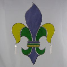 Stained Glass Mardi Gras Fleur de Lis Suncatcher by ByCoco on Etsy, $58.00
