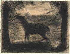 This unbridled foal is remarkably anomalous among Seurat's drawings. Its flurry of scratchy lines and sense of unrestrained motion contrast the silence and calm generally found in Seurat's velvety Conté crayon sheets
