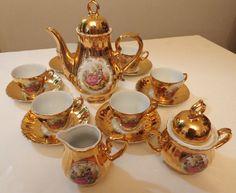 vintage tea sets   VINTAGE TEA SET Japan GILDED GOLD Victorian Couple Cameo 17 piece ...
