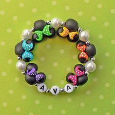 Mickey Mouse Minnie Mouse inspired clay bead Jewelry Bracelet Rainbow Polka Dot Bows Hypoallergenic Children Kids Adult mini mouse ears