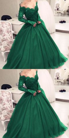 Illusion Scoop Neckline Lace Long Sleeves Emerald Green Prom Dresses 2018,Ball Gowns Quinceanera Dresses M2523
